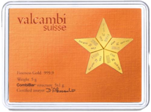 Goudbaren Valcambi 5 x 1 gram goudbaar