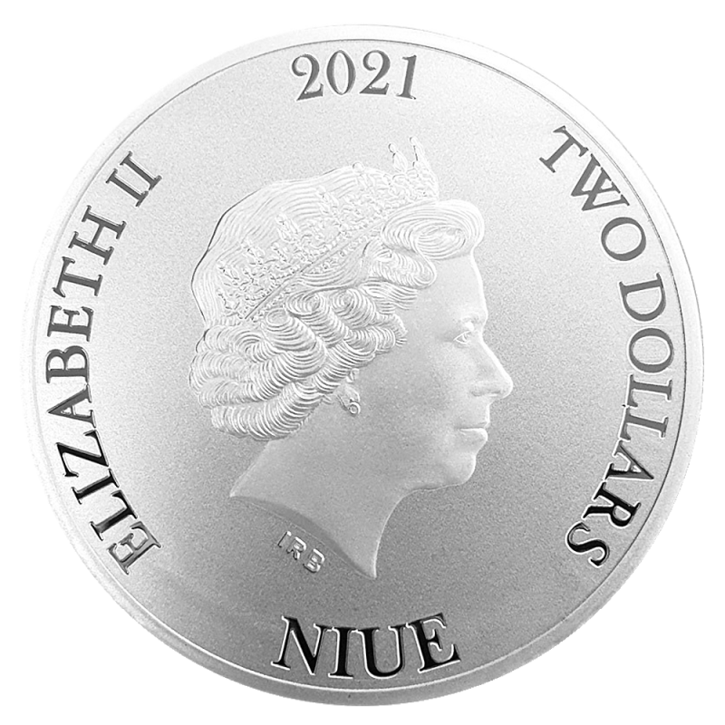 Zilveren Bitcoin 2021 koop je bij MuntenBaren.nl achterkant