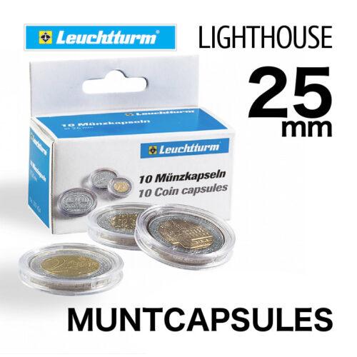 Muntcapsules van het merk Leuchtturm (Lighthouse) met binnenmaat van 25 mm. Te gebruiken voor o.a. 1/2 oz gouden Maple Leaf