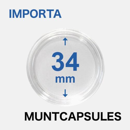 Muntcapsules van het merk Importa met een binnenmaat van 34 mm. Te gebruiken voor o.a.