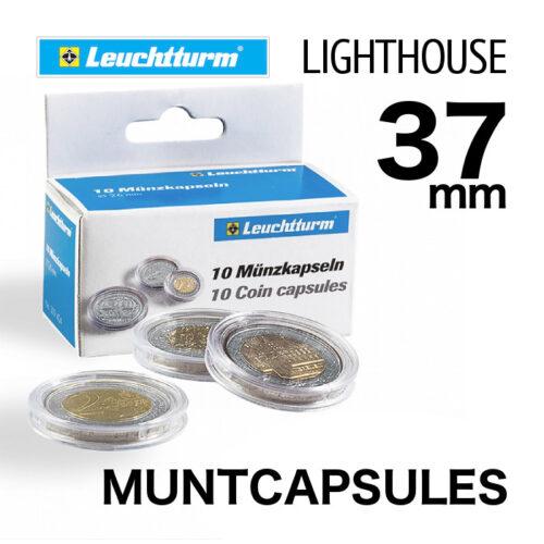 Muntcapsules van het merk Leuchtturm (Lighthouse) met binnenmaat van 37 mm. Te gebruiken voor de o.a. 1oz zilveren Wiener Philharmoniker.