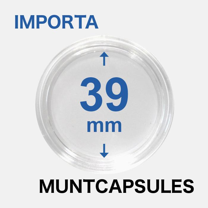 Muntcapsules van het merk Importa met een binnenmaat van 39 mm. Te gebruiken voor de 1oz zilveren Britannia en 1 oz zilveren Krugerrand.
