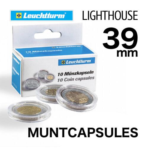 Muntcapsules van het merk Leuchtturm (Lighthouse) met binnenmaat van 39 mm. Te gebruiken voor de o.a. 1oz zilveren Krugerrand en de 1oz zilveren Britannia