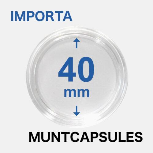 Muntcapsules van het merk Importa met een binnenmaat van 40 mm. Te gebruiken voor o.a. de 1oz zilveren 'Bitcoin'.