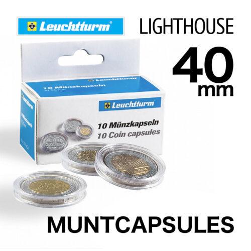 Muntcapsules van het merk Leuchtturm (Lighthouse) met binnenmaat van 40 mm. Te gebruiken voor o.a. 1oz zilveren 'Bitcoin'
