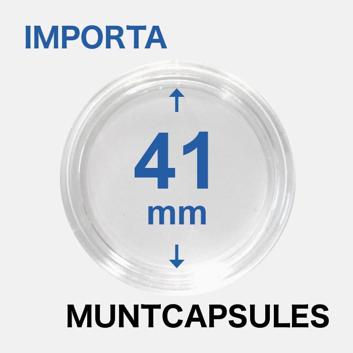 Muntcapsules van het merk Importa met een binnenmaat van 41 mm. Te gebruiken voor o.a. de 1oz zilveren American Eagle en de 1 oz zilveren Kangaroo