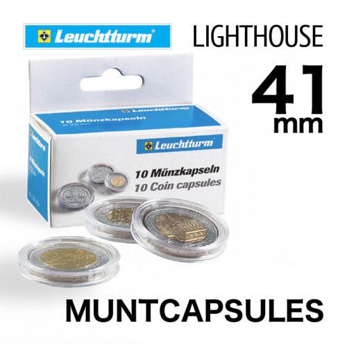 Muntcapsules van het merk Leuchtturm (Lighthouse) met binnenmaat van 41 mm. Te gebruiken voor o.a. 1oz zilveren American Eagle en de 1 oz zilveren Kangaroo
