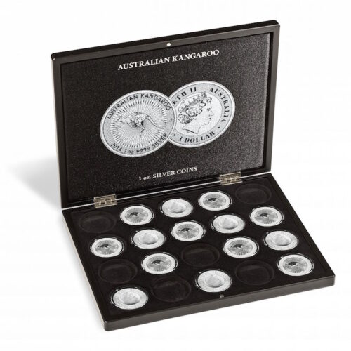 Muntcassette voor 20 Kangaroo zilveren munten. Verzamel uw zilveren Kangaroo munten in deze muntcassette. (Muntcassette zonder afgebeelde zilveren Kangaroo munten).