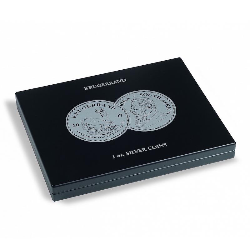 Muntcassette voor 20 Krugerrand zilveren munten. Verzamel uw zilveren Krugerrand munten in deze muntcassette. (Muntcassette zonder afgebeelde zilveren Krugerrand munten). Presentatiebox.