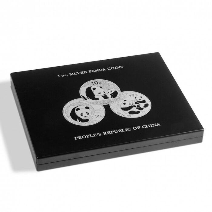 Muntcassette voor 20 Panda zilveren munten. Verzamel uw zilveren Panda munten in deze muntcassette. (Muntcassette zonder afgebeelde zilveren Panda munten). Presentatiebox.