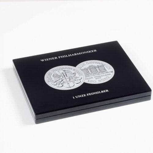 Muntcassette voor 20 Wiener Philharmoniker zilveren munten. Verzamel uw zilveren Philharmoniker munten in deze muntcassette. (Muntcassette zonder afgebeelde zilveren Philharmoniker munten). Presentatiebox.